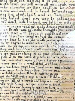 Large Antique Sampler Painting Rudyard Kipling If Poetry Calligraphy Art Poems