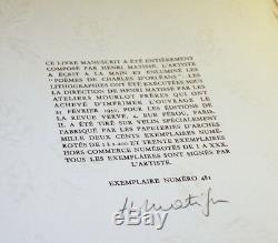 MATISSE Poèmes de Charles d'Orléans / Poems of Charles d'Orleans 1950 Signed