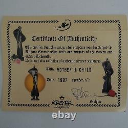 Mother & Child 1997 Richard Kramer Sculpture, Authenticity Certificate, & Poem