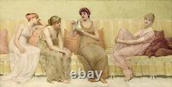 No framed oil painting four young girls Reading love poems on sofa canvas 36