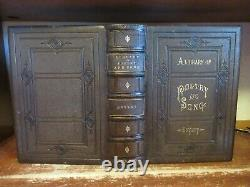 Old FAMILY LIBRARY OF POETRY AND SONG Leather Book 1880 FINE BINDING ANTIQUE ART
