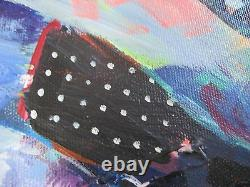 Orig Outsider Modernist Collage Acrylic A Poem As Lovely As A Tree SEATED WOMAN