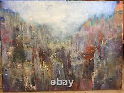 Original Abstract Art Knife Painting On Canvas With Poem, À Footstep Forward