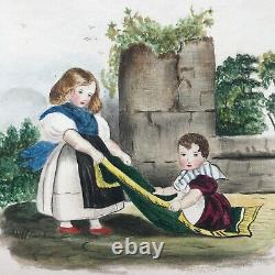 Original Signed Antique Watercolour Painting with a Poem, Young Children Playing