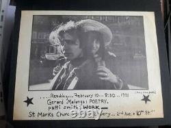 PATTI SMITH 1st FEB 1971 MALANGA FLYER PUNK NEW YORK HISTORY POETRY ART WARHOL