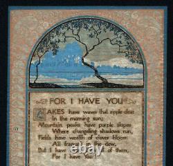 P F VOLLAND COMPANY AMERICAN ARTS & CRAFTS POEM Antique Print c1930