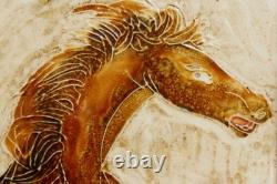 Painting Maw & Co Majolica Painted Ceramic Tiles Horse Chinese Poem Framed