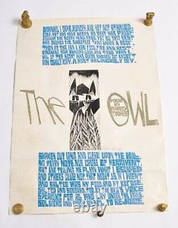 Paul P Piech The Owl poster numbered, signed! Super rare Edward Thomas poem