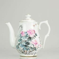 Porcelain Art! Proc 1980/1990 Fencai Teapot With Flowers and Poem Porcel