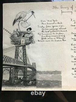RARE, Jonas Lie Mixed Media, Pen & Ink, Watercolor & Stork Poem Signed