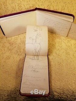 Rare Atq Autograph/Art/Poetry Albums, Lot/ 2, Suede, Litho, Metal, 1886/1891, V. G. C