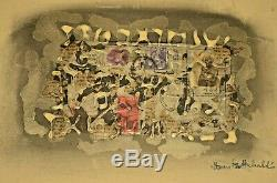 SAM GLANKOFF Original Signed Judaica Poem Mixed Media Collage Abstract Painting
