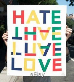 STEVE POWERS All You Need is Work Love Hate espo print street poetry lowbrow art