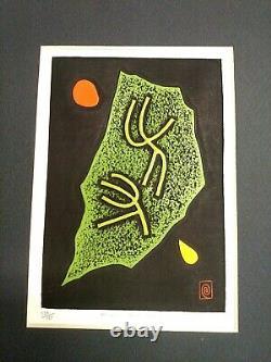 Scarce Haku Maki Cement Relief Print Limited Edition#130/151 TitledPoem 71-60