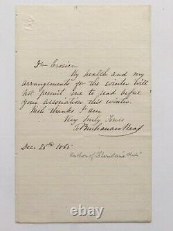 Thomas Buchanan Read 1865 Letter Signed American Poet Artist Painting Art Poetry