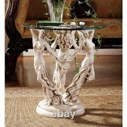 Three Muses Poetry Art Science Greek Goddesses Round Glass Top Table
