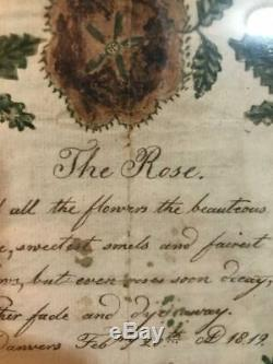 Two 19th Century Antique Painting Fraktur Poems From 1819 Early American