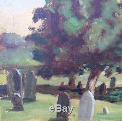 Unique Vintage Painting Graveyard Cemetery (Poem Verso) Oil Tombstones