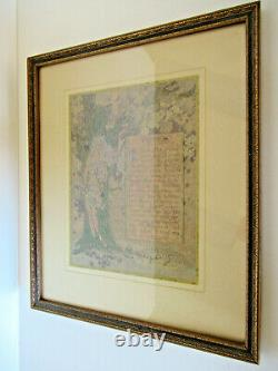 Very sweet antique illustrated poem, Trees, framed, dated 1914