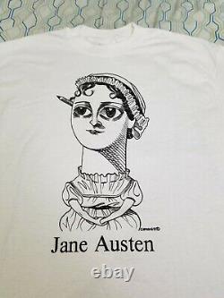 Vintage 90s Jane Austen Art T Shirt Author Poetry Portrait Picture Painting XL