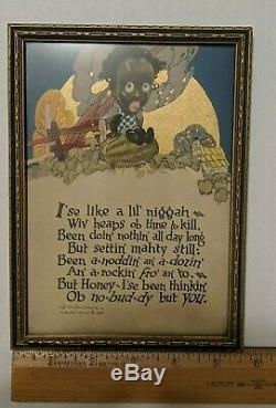 Vintage Caricature Print Poem Art Buzza Motto 1925 Boy On Watermelon