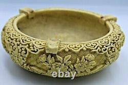 Vintage Cigarettes Dish Smoking Rose Pattern Poetry Decoration Plate Chinese ART