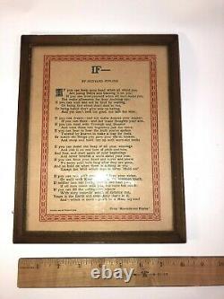 Vintage Classic Poem Rudyard Kipling IF In old Frame See pics, make offer