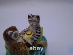 Vintage Halcyon Days The Owl And The Pussy Cat Enamel Trinket Box Free S&h Ae