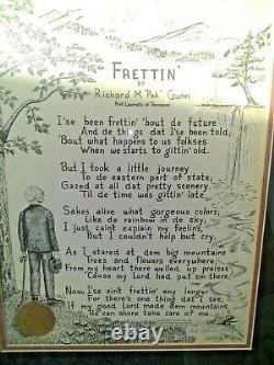 Vintage RICHARD M. PEK GUNN TENNESSEE Frettin SIGNED POEM ART Framed