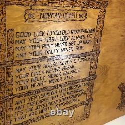 Vtg Cowboy Poem Rodeo Woodburning Wood Burning Picture 4 X 2 Western Folk