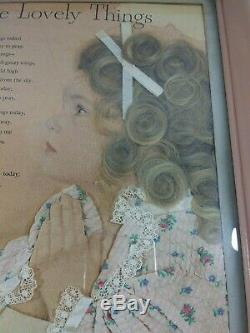 Vtg Mourning Hair Art Girl Blonde Locks of Curls Cloth PJs Dated 1949 with Poem