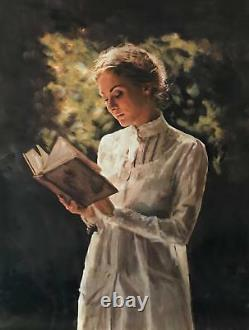 WILLIAM OXER ORIGINAL CANVAS Poetry and Stillness Pretty Woman Girl PAINTING